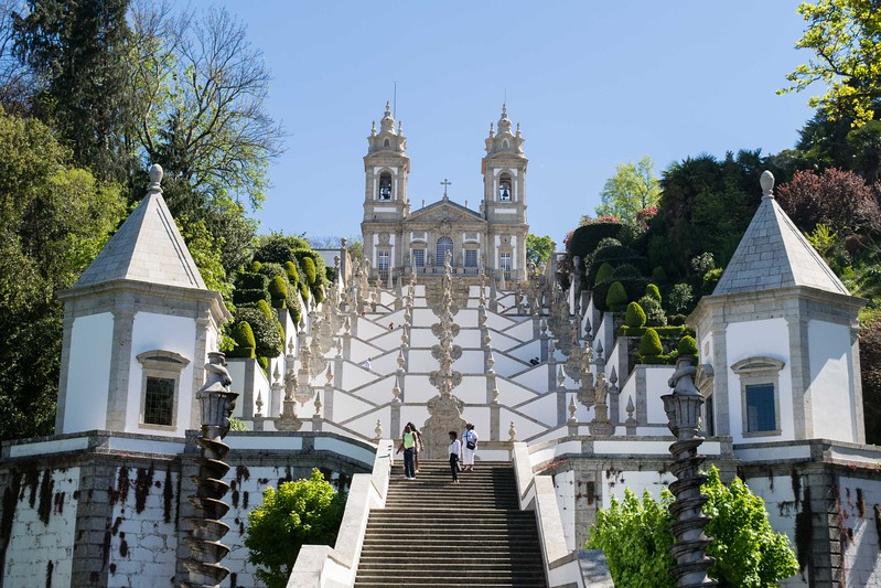 Ornate staircase leading up to the Monumental Escadatorio do Bom Jesus near Barga.