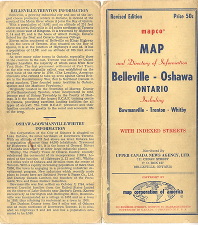 1950s map of Belleville and Trenton