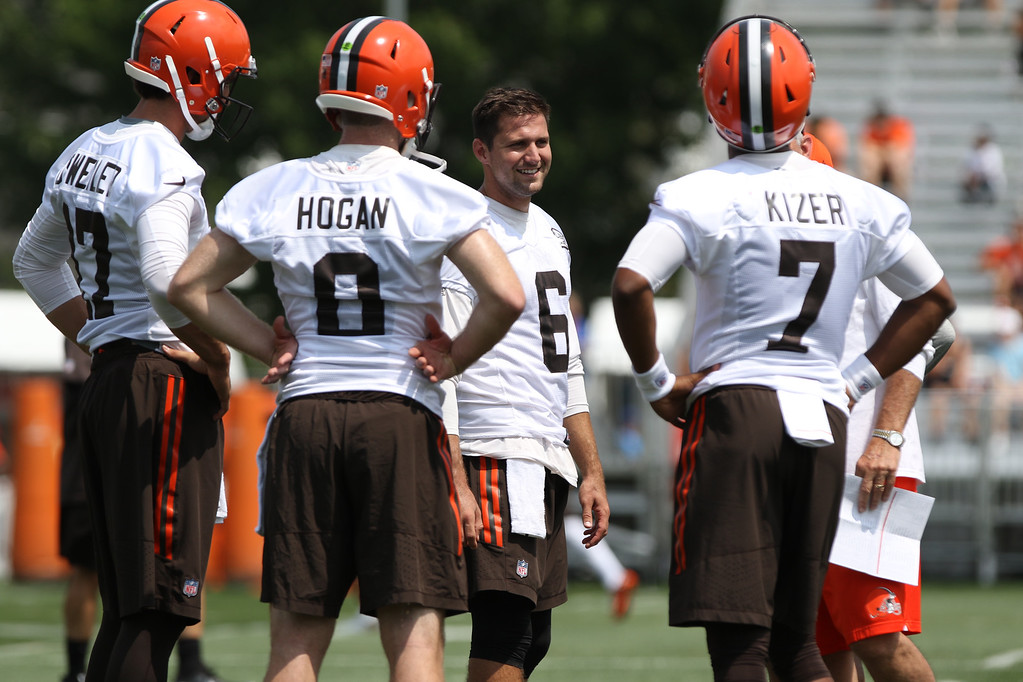 . The Browns quarterbacks converse during the first day of training camp in Berea on July 27. The Orange & Brown Scrimmage is from 5 to 7 p.m. Aug. 4 at FirstEnergy Stadium. For more information and to register for a ticket, visit www.clevelandbrowns.com/news/article-landing/2017-Orange--Brown-Scrimmage/42ea118d-18e9-4738-8061-1ccacdebbe0c.  (News-Herald file)