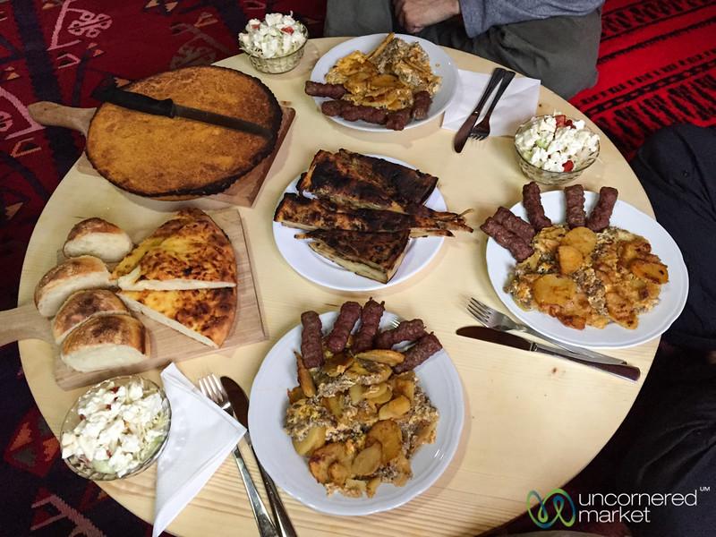 Feast at our Homestay in Babino Polje, Montenegro