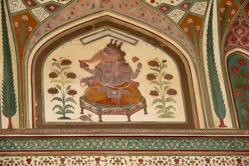 The elephant god Ganesh adorns Ganesh Pol (gate) which leads into the private palaces of the Maharajas - Amer Fort, Jaipur