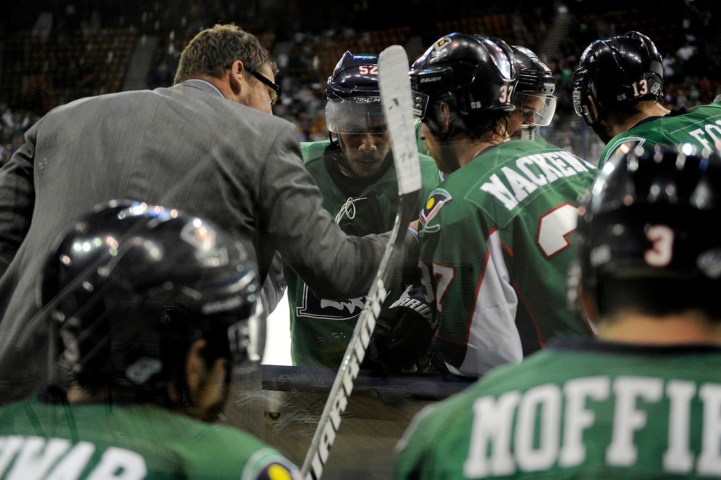 . DENVER, CO - MAY 2: Cutthroats coach Derek Armstrong tells his players what to do during a timeout late in the third period of game 1 of the Ray Miron Presidents Cup Finals at the Denver Coliseum in Denver, Colorado on May 2, 2014. (Photo by Seth McConnell/The Denver Post)