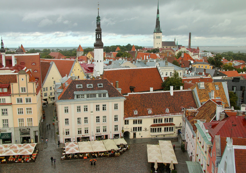 Another lovely view from atop Town Hall Tower overlooking the square Holy Spirit Church (center) and St. Olaf's Church (right) -Tallinn, Estonia