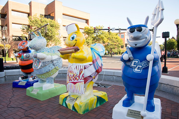 09/18/19 Wesley Bunnell | StaffrrFour more six foot decorated fiberglass bees were unveiled at the Cele-BEE-tion on Wednesday night at Central Park. The bees are partnership with the NBAA and sponsors from throughout the city. ASL Bee, BEEhaviioral Health, Marty Bee and Blue Devil Bee.