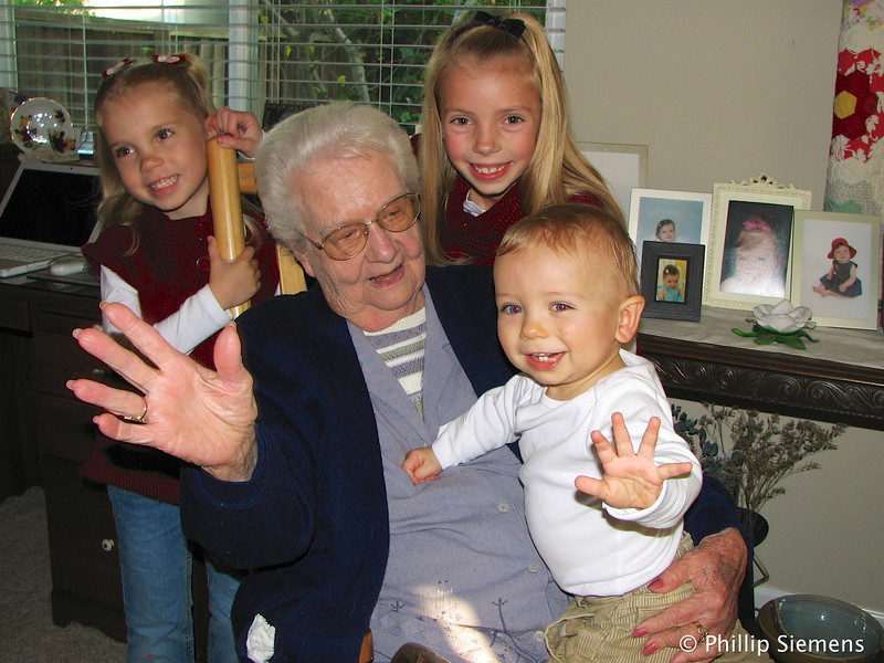 Mom and three of her great-grandkids