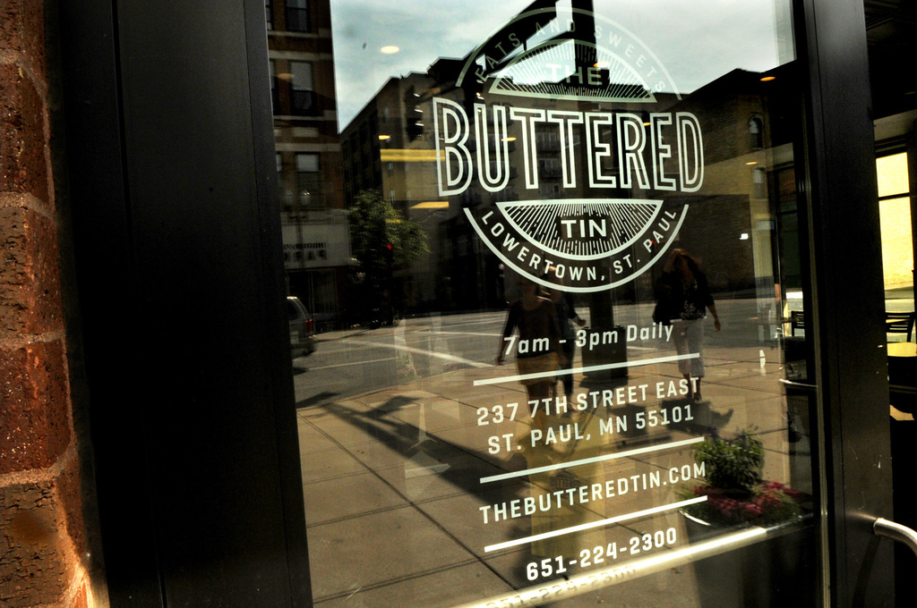 . Customers walk to the Buttered Tin, a new bakery and cafe in St. Paul\'s Lowertown. (Pioneer Press: Jean Pieri)