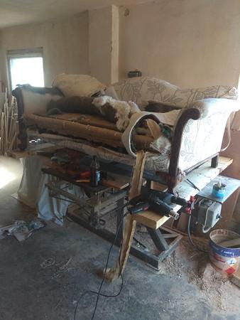 restoration of antique mahogany framed sofa