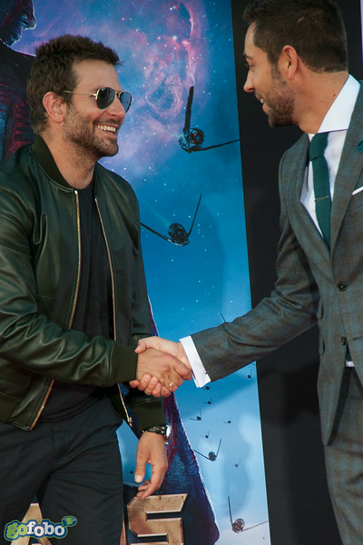 HOLLYWOOD, CA - JULY 21: Actors Bradley Cooper and Zachary Levi attend Marvel's 'Guardians Of The Galaxy' Los Angeles Premiere at the Dolby Theatre on Monday July 21, 2014 in Hollywood, California. (Photo by Tom Sorensen/Moovieboy Pictures)