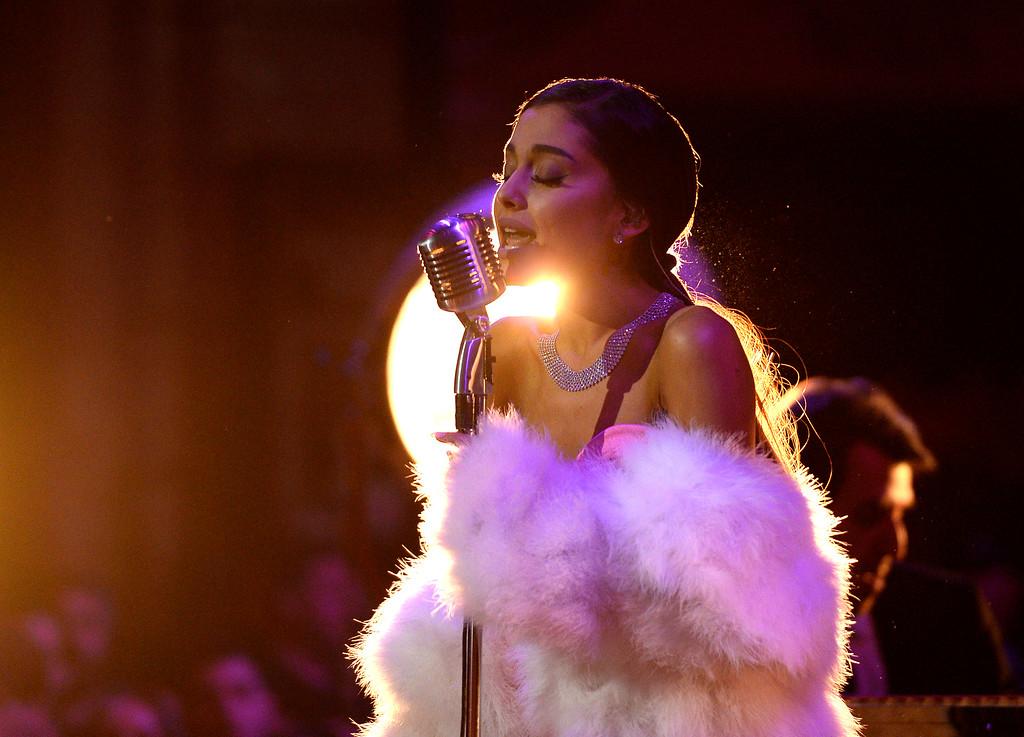 . Ariana Grande performs at the MTV Movie Awards at Warner Bros. Studio on Saturday, April 9, 2016, in Burbank, Calif. (Kevork Djansezian/Pool Photo via AP)