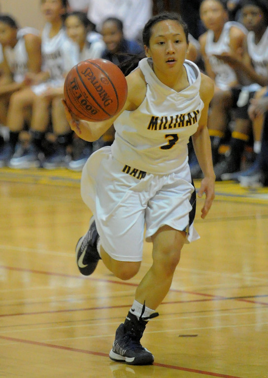 . 02-16-2012--(LANG Staff Photo by Sean Hiller)- Millikan vs. Rancho Cucamonga in Saturday night\'s  first-round CIF girls basketball game at Millikan High School in Long Beach. Johanna Dungca (3) looks for a path inside.