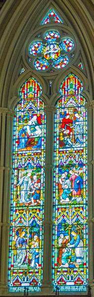 Chancel windows right side - Works of Mercy <br> glass by Franz Meyer, Munich
