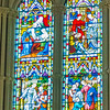 Chancel windows right side - Works of Mercy <br> glass by Franz Meyer, Munich