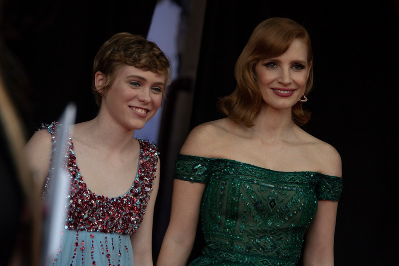"""WESTWOOD, CA - AUGUST 26: Sophia Lillis and Jessica Chastain attend the Premiere Of Warner Bros. Pictures' """"It Chapter Two"""" at Regency Village Theatre on Monday, August 26, 2019 in Westwood, California. (Photo by Tom Sorensen/Moovieboy Pictures)"""
