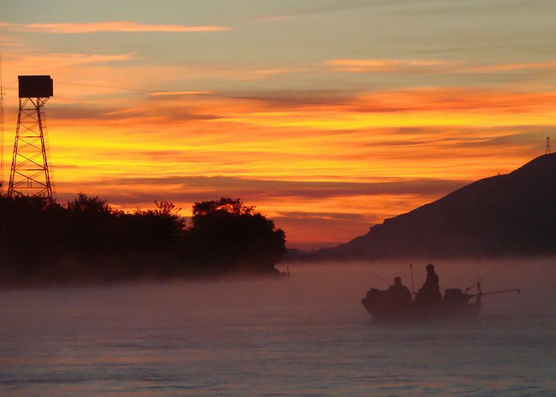 Salmon Fishing at Sunrise  Columbia River, Washington