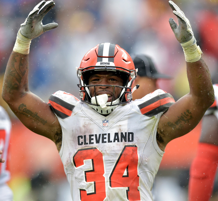 . Cleveland Browns running back Carlos Hyde celebrates after scoring a 1-yard touchdown during the second half of an NFL football game against the Pittsburgh Steelers, Sunday, Sept. 9, 2018, in Cleveland. (AP Photo/David Richard)