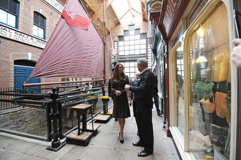 . Catherine, The Duchess of Cambridge talks to former trawler-man John Vincent during her tour of the National Fishing Heritage Centre on March 5, 2013 in Grimsby, England. (Photo Anna Gowthorpe - WPA Pool/Getty Images)