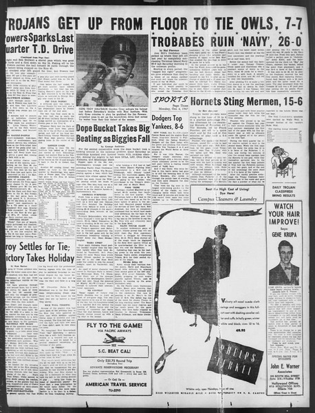 Daily Trojan, Vol. 39, No. 16, October 06, 1947