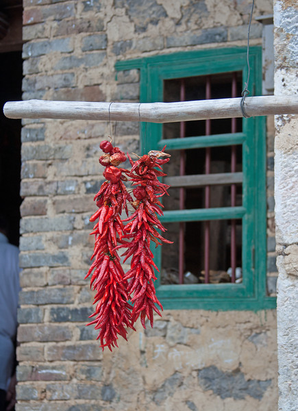 Chili peppers hanging outside Chinese house