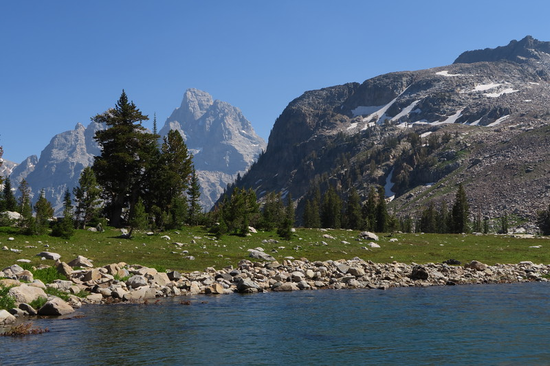 Lake Solitude and Grand Teton looking back to the east.