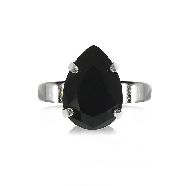 Mini Drop Ring / Jet Rhodium