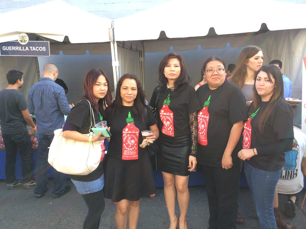 . More than 800 people attended the first L.A. Sriracha Festival Sunday. Huy Fong Foods founder David Tran sponsored the event and attended to see what a dozen L.A. chefs created with his and others\' versions of the famous chili sauce. (Photo by Lauren Gold/Staff)