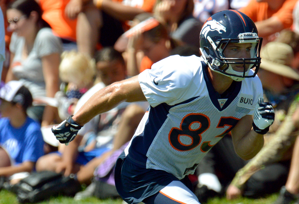 . Denver Broncos WR Wes Welker (83) runs a route during training camp July 31, 2013 at Dove Valley. (Photo By John Leyba/The Denver Post)