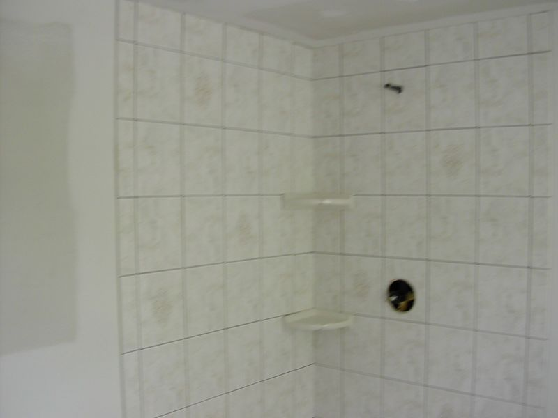 Tilework in bathroom