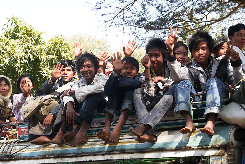 A very full truck load of friendly Burmese in Bagan, Burma (Myanmar)