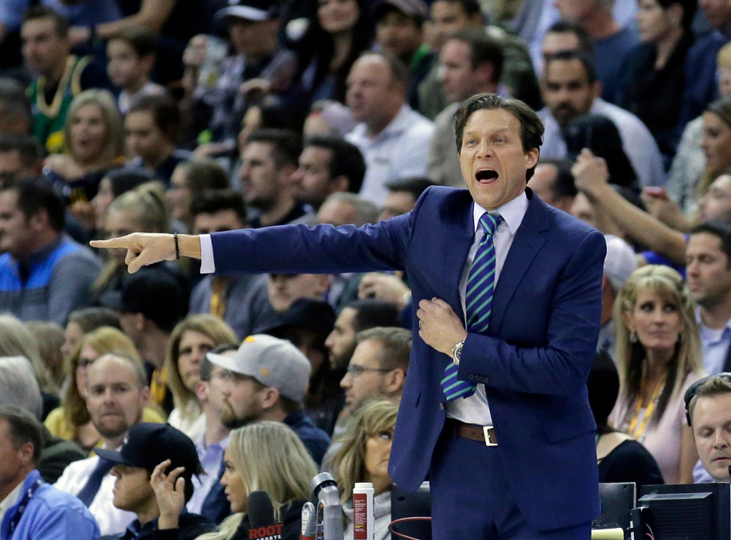 . Utah Jazz head coach Quin Snyder shouts to his team in the first half during an NBA basketball game against the Cleveland Cavaliers Tuesday, Jan. 10, 2017, in Salt Lake City. (AP Photo/Rick Bowmer)