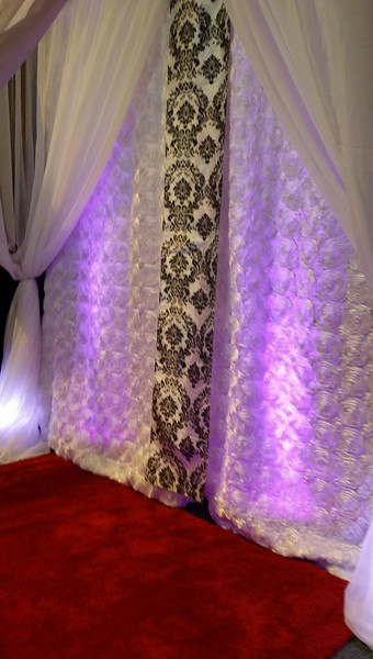 White Sheer with White Rose Curtain