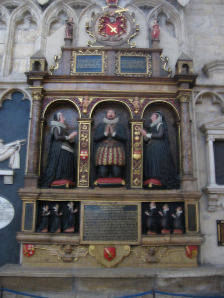 Tomb of a husband and his two wives, 1611, York Minster