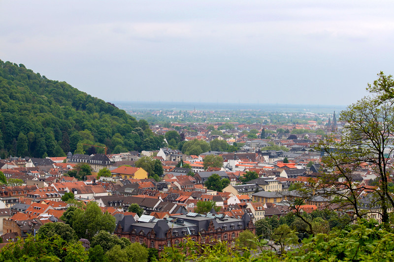 The view to the west from Philosophenweg in Heidelberg