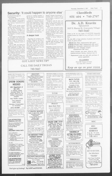 Daily Trojan, Vol. 116, No. 63, December 05, 1991
