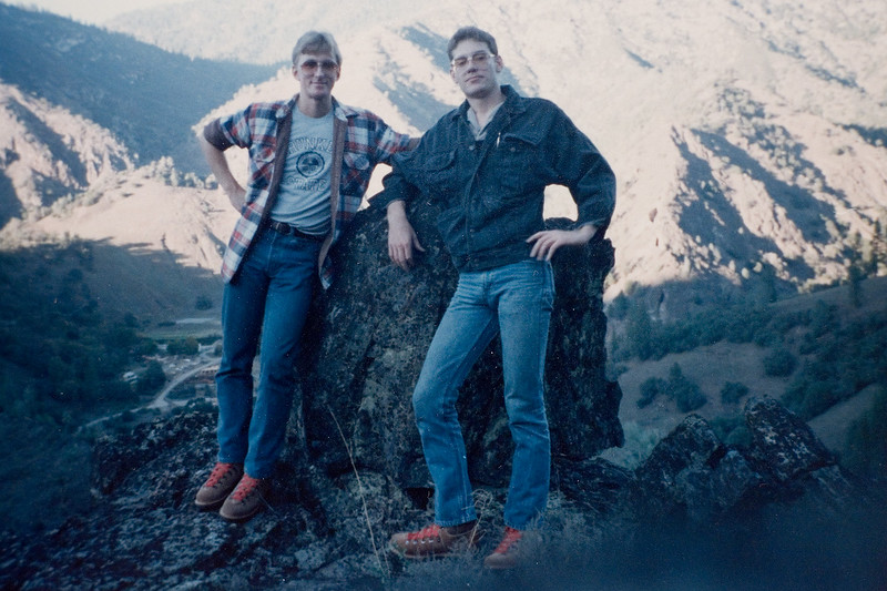 "Me and Ben Reed at ""Lets go hike this hill"" along the Merced River on the way to Yosemite."