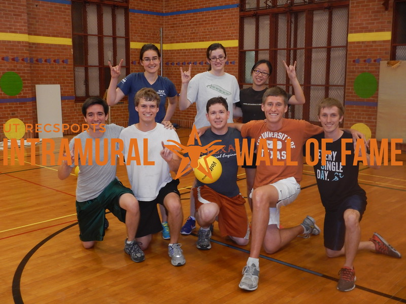 FALL DODGEBALL Coed Runner Up  The Burger People  R1: Bryce Caughron, Jacob Farrington, John Baird, Ian McBride, Richard Paul R2: Paula Koziol, Samantha Harris, Wendy Siu Not Pictured: Luis Martinez, Sushen Patel, Walker Thompson, Mena Yamany