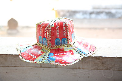 One of my favorite hats. Great use of otherwise rubbish material. Champasak Province, Lao PDR.