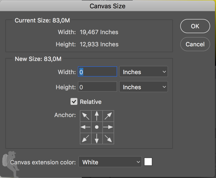 Canvas Size pop-up window