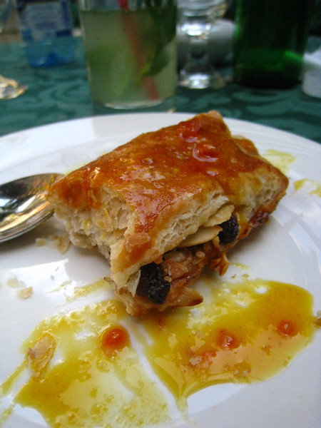 Fairly good Cuban version of baklava (raisins, almonds, peanuts) served with a passion fruit sauce