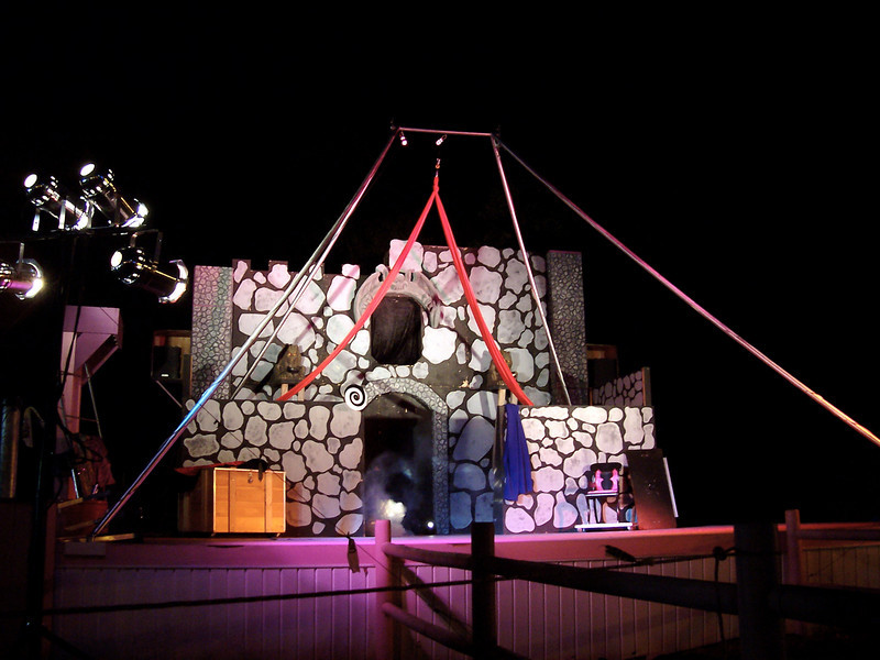 The stage for the Circus of Horrors show. Note the Aerial Tissu/Silk apparatus.