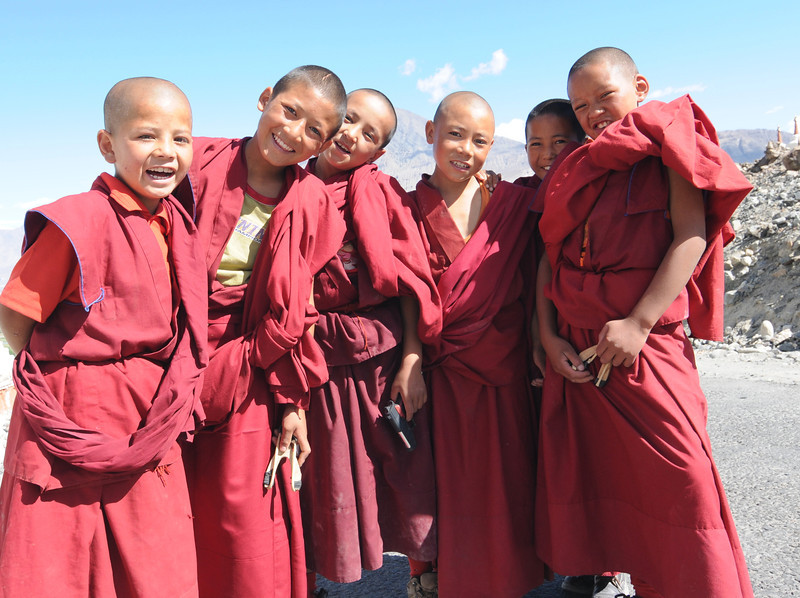 Young boys at Thiksey Monastery in Ladakh.