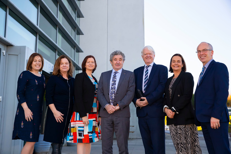 08/11/2019. Pictured at the launch of the Waterford Institute Technology Laboratory Apprenticeships at WIT are Bernie Whelan WIT, Orla O'Donovan WIT, Siobhan Dean BioPharmaChem Ireland, Minister John Halligan, Matt Moran Director of BioPharmaChem Ireland, Eleanor Kent WIT and Dr. Peter McLoughlin, WIT Head of School of Science. Picture: Patrick Browne