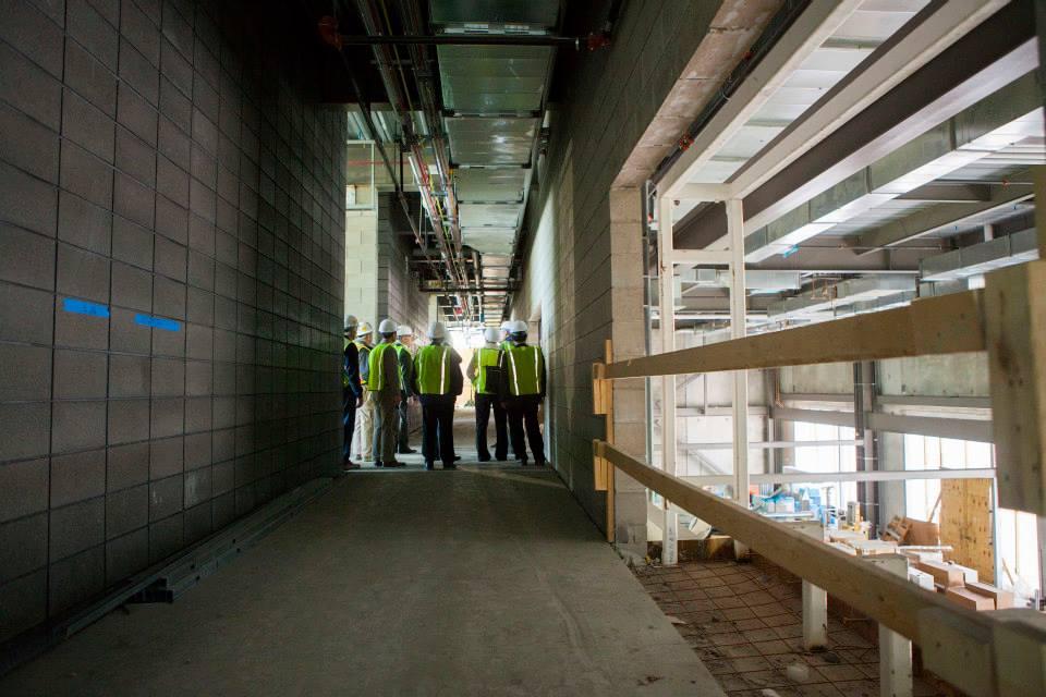 Description of . The second-floor hallway that overlooks the machine shop. (Photo by Jason Willis/Oakland University)