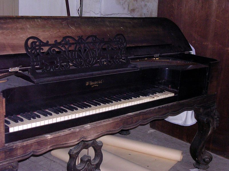 The magnificent 19th century Knabe square grand piano is identical to one in the the Graese Gallery of the National Music Museum. in South Dakota.
