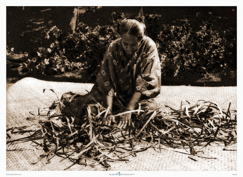319: 'Woman Weaving Lauhala Mat' From a sepia-toned photograph. Ca. 1926.