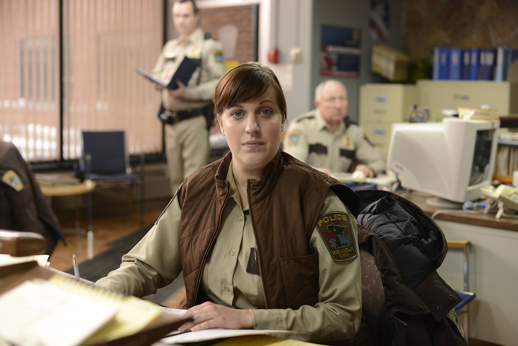 """. In this image released by FX, Allison Tolman appears in a scene from \""""Fargo.\"""" Tolman was nominated for a Golden Globe for best actress in a TV movie or mini-series for her role on Thursday, Dec. 11, 2014. The 72nd annual Golden Globe awards will air on NBC on Sunday, Jan. 11. (AP Photo/FX, Chris Large)"""