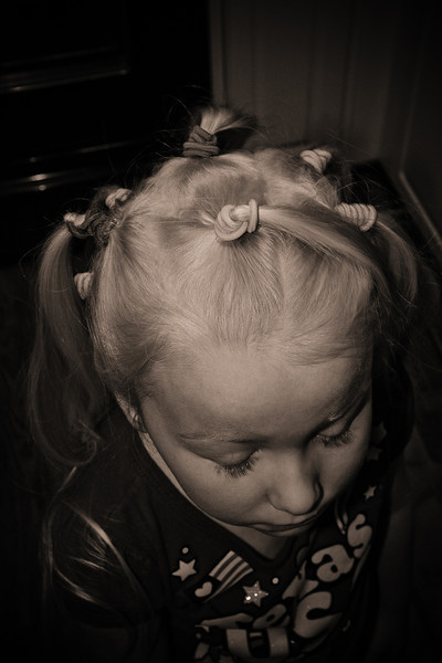 Chloe ready for Crazy Hair Day at school - February 2012