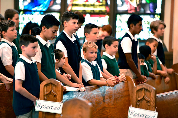 9/11/2019 Mike Orazzi | StaffrSt. Joseph School students during the 9/11 ceremony in Bristol on Wednesday morning at St. Joseph Church.r