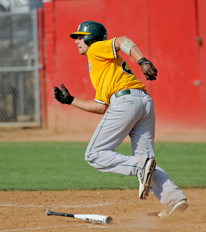 . 05-28-2013-( Sean Hiller/LANG) Mira Costa beat Elsinore 5-3 in Tuesday\'s CIF Southern Section Division III semifinal at Elsinore High School. Costa\'s Grant Livornese hitting the game winning home run in the 7th inning.