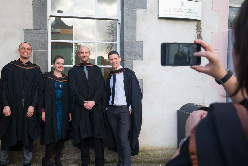 01/11/2017. Waterford Institute of Technology Conferring are Kevin Jackman, Waterford, Ari Downey Tramore, Co. Waterford, Eamonn Kenny Piltown, Co. Kilkenny, John O'Keeffe Carrick on Suir, Co. Tipperary and Kinga Danhel Waterford, who Graduated HDip. in Science. Picture: Patrick Browne