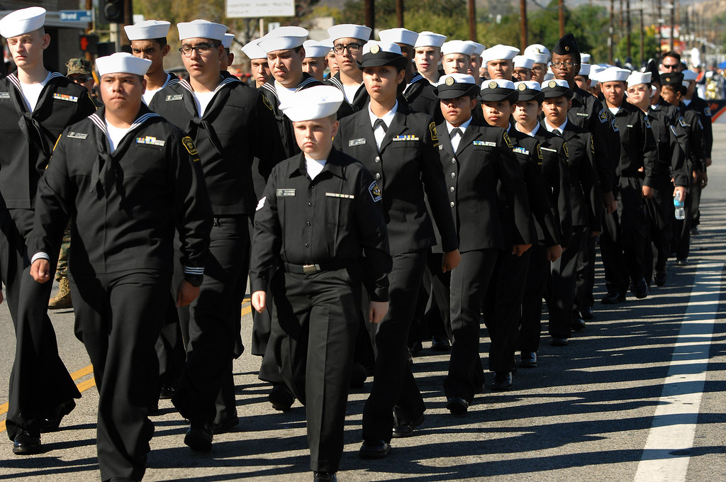 . Members of the US Naval Sea Cadet Corps march in the San Fernando Valley Veterans Day Parade in Pacoima, Monday, November 11, 2013. (Photo by Michael Owen Baker/L.A. Daily News)